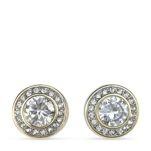 Round Clear Two Tone Crystal Statement Earrings